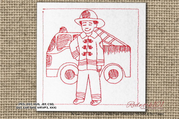 Little Child As a Firefighter Redwork Work & Occupation Embroidery Design By Redwork101