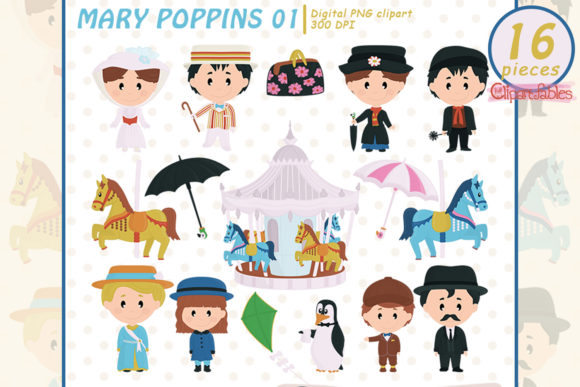 Mary Poppins Clipart, Musical, Carousel Graphic Illustrations By clipartfables