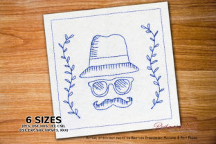 Mustache Fathers Day Bluework Father's Day Embroidery Design By Redwork101