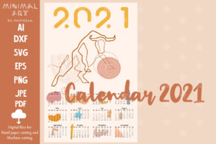 Print on Demand: One Line New Year Cow OX Calendar Card Graphic Illustrations By Momixzaa