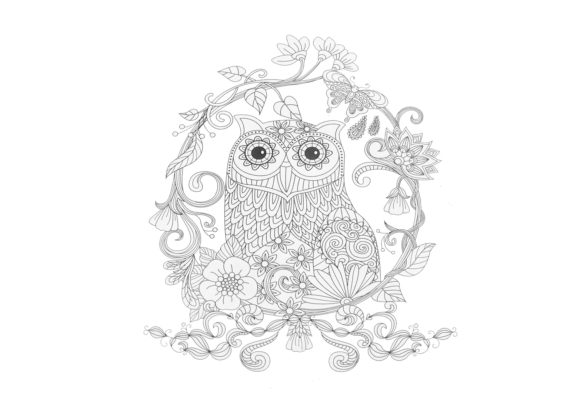 Owl Zentangle Coloring Page V3 Grafico Por Capeairforce Creative Fabrica