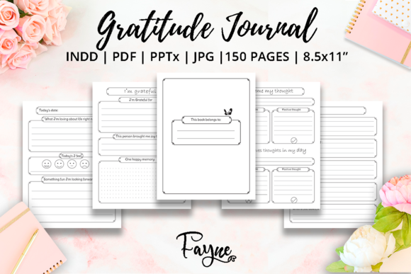 Positivity Diary & Gratitude Journal KDP Graphic Download
