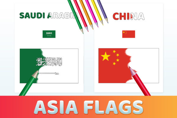 Printable Asia Flags Coloring Pages PDF Gráfico Libros para colorear - Niños Por medelwardi