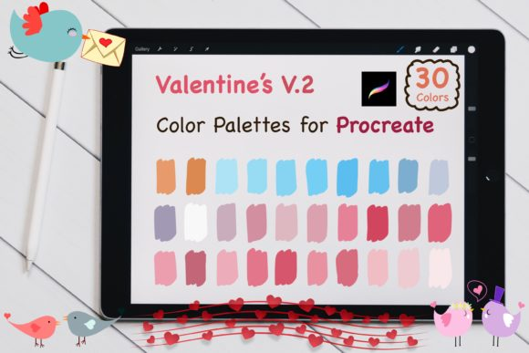 Procreate Color Palettes-Valentines V.2 Graphic Add-ons By jennythip