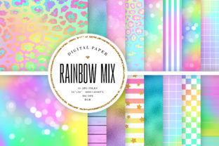 Print on Demand: Rainbow Mix Digital Paper Graphic Backgrounds By Sabina Leja