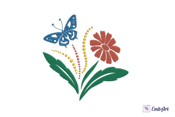 Print on Demand: Red Gerbera and Blue Butterfly Valentine's Day Embroidery Design By EmbArt
