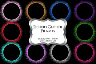 Print on Demand: Round Glitter Frames Clipart Graphic Illustrations By Party Pixelz