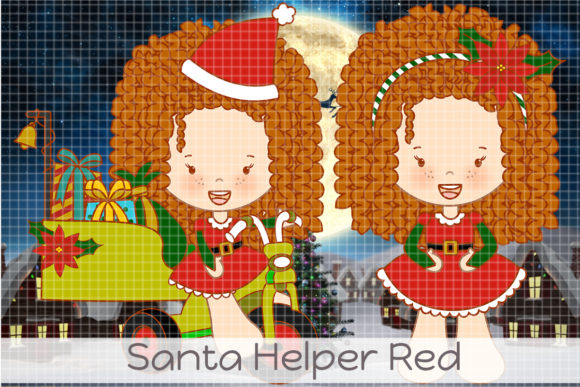 Santa Helper Red Graphic Illustrations By Dolls To Go