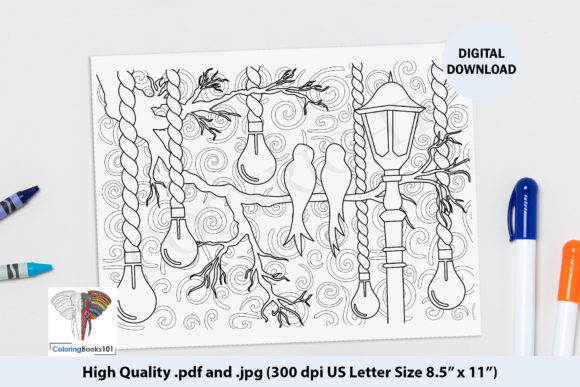 Sketch of Birds with Lamps Coloring Page Graphic Coloring Pages & Books Adults By ColoringBooks101
