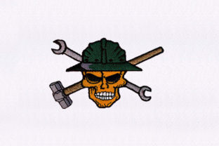 Skull with Tools Design Halloween Embroidery Design By DigitEMB