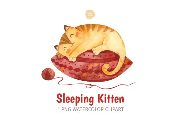 Print on Demand: Sleeping Ginger Cat, Watercolor Clipart Graphic Illustrations By ValinMalin