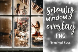 Snowy Window Overlay   Christmas Graphic Actions & Presets By Brushed Rose