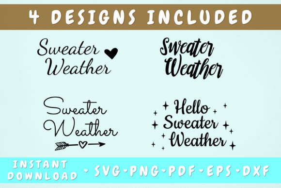 Print on Demand: Sweater Weather Svg - 4 Designs Graphic Objects By HappyDesignStudio