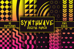 Print on Demand: Synthwave Pattern Digital Paper Graphic Patterns By atlasart