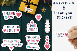 Print on Demand: Thank You - Stickers for Business. Graphic Illustrations By vitaminka26