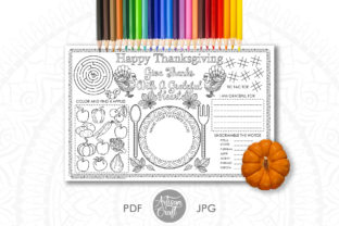 Print on Demand: Thanksgiving Coloring Placemat Graphic Coloring Pages & Books By Artisan Craft SVG