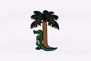 Tree and Alligator Design Reptiles Embroidery Design By DigitEMB