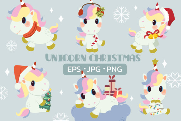 Unicorn with Christmas Theme Graphic Illustrations By Guppic the duck