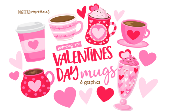 Print on Demand: Valentines Day Mugs Clipart Set Graphic Illustrations By DigitalPapers