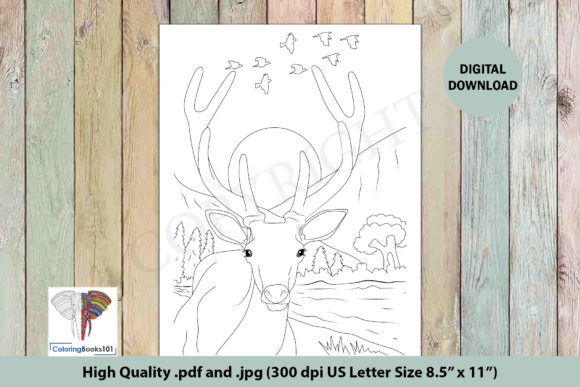 Wild Reindeer is in the Jungle Graphic Coloring Pages & Books Adults By ColoringBooks101