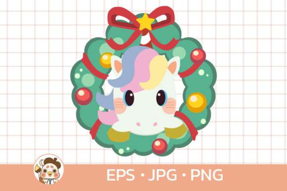 Unicorn with Christmas Wreath Graphic Illustrations By Guppic the duck