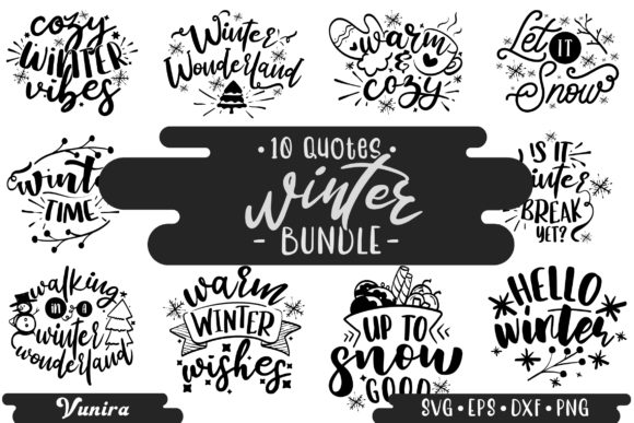 Print on Demand: 10 Winter Bundle | Lettering Quotes Graphic Crafts By Vunira