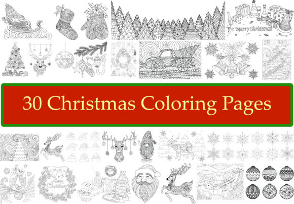 30 Christmas Coloring Pages Graphic Coloring Pages & Books Adults By somjaicindy