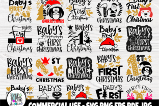 Print on Demand: Baby's First Christmas SVG Bundle Graphic Crafts By nibaartstudio