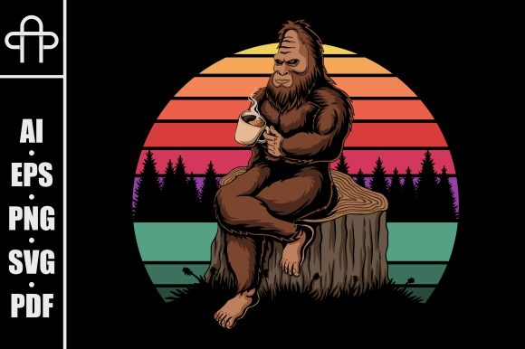 Print on Demand: Bigfoot Relaxing Coffee Sunset Retro Graphic Illustrations By Andypp