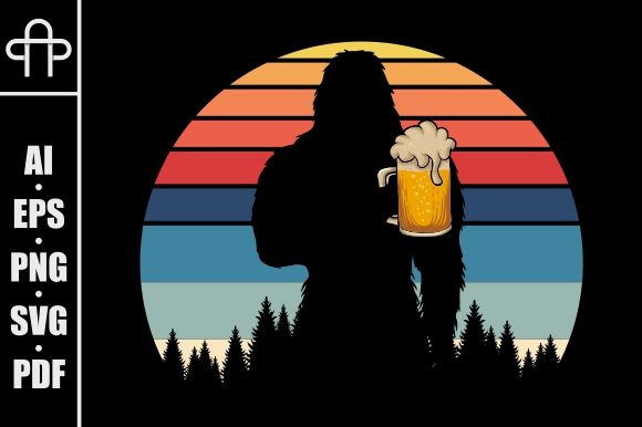 Print on Demand: Bigfoot Silhouette Beer Retro Graphic Illustrations By Andypp