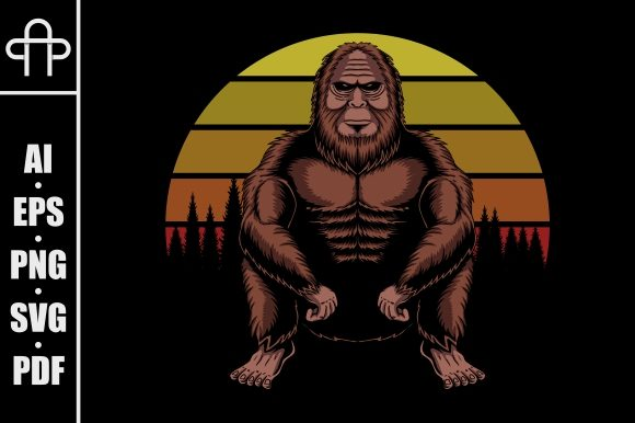 Print on Demand: Bigfoot Squat Sunset Retro Graphic Illustrations By Andypp