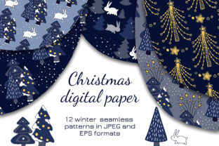 Print on Demand: Christmas Digital Paper Graphic Patterns By Alena Sas Store