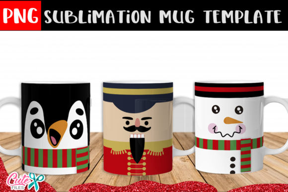 Christmas Faces Mug Sublimation Designs Graphic Print Templates By Cute files