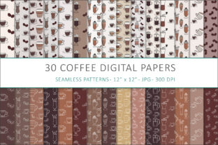 Print on Demand: Coffee Digital Papers - 30 Seamless Des Graphic Patterns By AS Digitale