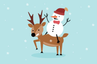 Print on Demand: Deer and Snowman Graphic Crafts By Yapivector