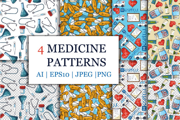 Doodle Medicine Patterns Graphic Patterns By AstraDesign