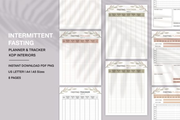 Print on Demand: Fasting Planner and Tracker KDP Interior Graphic KDP Interiors By Twin Flame Journey into the unknown
