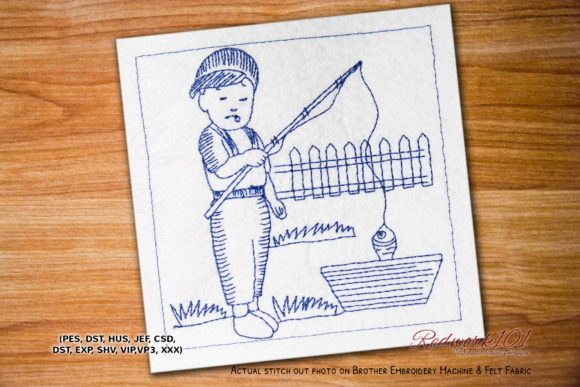Fishing in Tub Camping & Fishing Embroidery Design By Redwork101