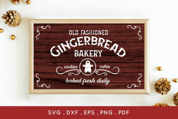 Gingerbread Bakery Christmas Sign Svg Graphic Crafts By peachycottoncandy