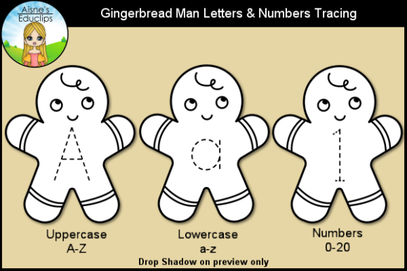Print on Demand: Gingerbread Man Letters & Numbers Graphic Teaching Materials By Aisne Educlips