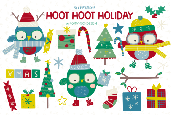 Print on Demand: HOOT HOOT Holiday Clipart Set Graphic Illustrations By poppymoondesign