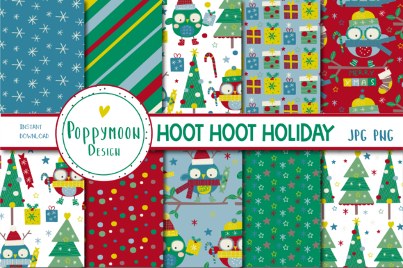 Print on Demand: HOOT HOOT Holiday Paper Set Graphic Patterns By poppymoondesign