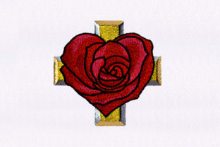 Heart Rose and a Cross Design Religion & Faith Embroidery Design By DigitEMB