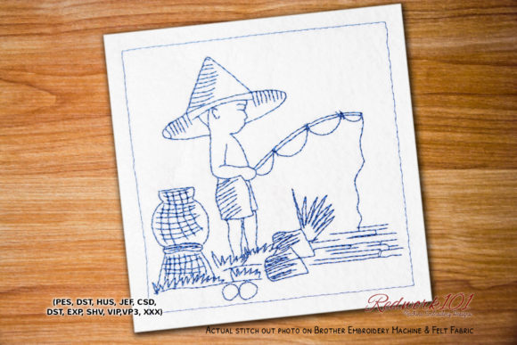 Lakeside Fishing Camping & Fishing Embroidery Design By Redwork101
