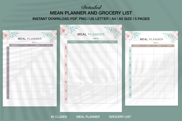 Print on Demand: Meal Planner and Grocery List | KDP Graphic KDP Interiors By Twin Flame Journey into the unknown