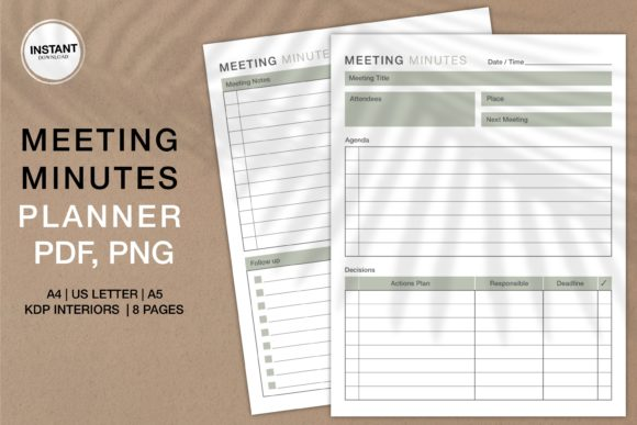 Print on Demand: Meeting Minutes Planner KDP Interiors Graphic KDP Interiors By Twin Flame Journey into the unknown