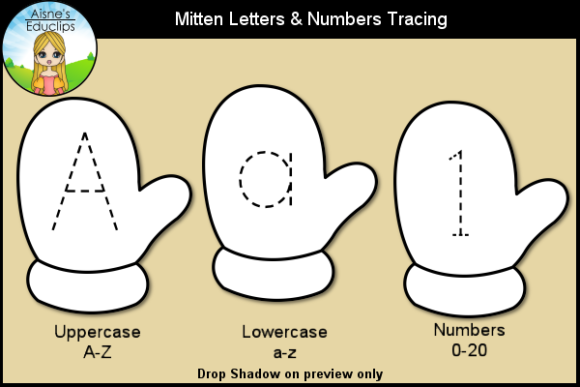 Print on Demand: Mitten Letters & Numbers Tracing Graphic Teaching Materials By Aisne Educlips
