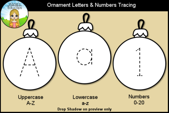 Print on Demand: Ornament Letters & Numbers Tracing Graphic Teaching Materials By Aisne Educlips