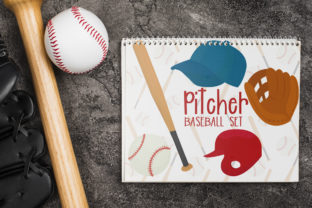 Pitcher Baseball Set Graphic Crafts By Firefly Designs