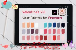 Procreate Color Palettes-Valentines V.6 Graphic Add-ons By jennythip